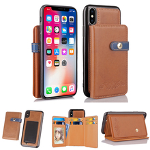 2 in 1 Wallet Leather Case For iPhone 8 7 7 Plus For iPhone 6 6s Plus Phone Case Stands Velcro Cover Business Case For iPhone X(China)