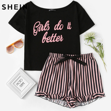 SHEIN Letter Print Short Sleeve Top and Striped Shorts Pajama Set Ladies Summer Sleep Wears Womens Casual Pajama Sets(China)