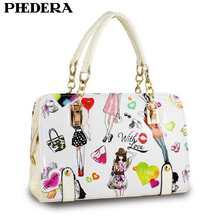Phedera Fashion Summer Women Handbag Cartoon Pattern PU Leather Ladies Tote Bags Satchels Female White Candy Color Hand Bags
