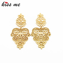 KISS ME Designer Jewelry Hot Selling Elegant Gold Color Metal Hollow Earrings for Women