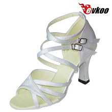 Evkoodance Satin Black Or White Woman Latin Heel Height 8cm Dance Shoes 2017 Popular Style Salsa Dance Evkoo-150(China)