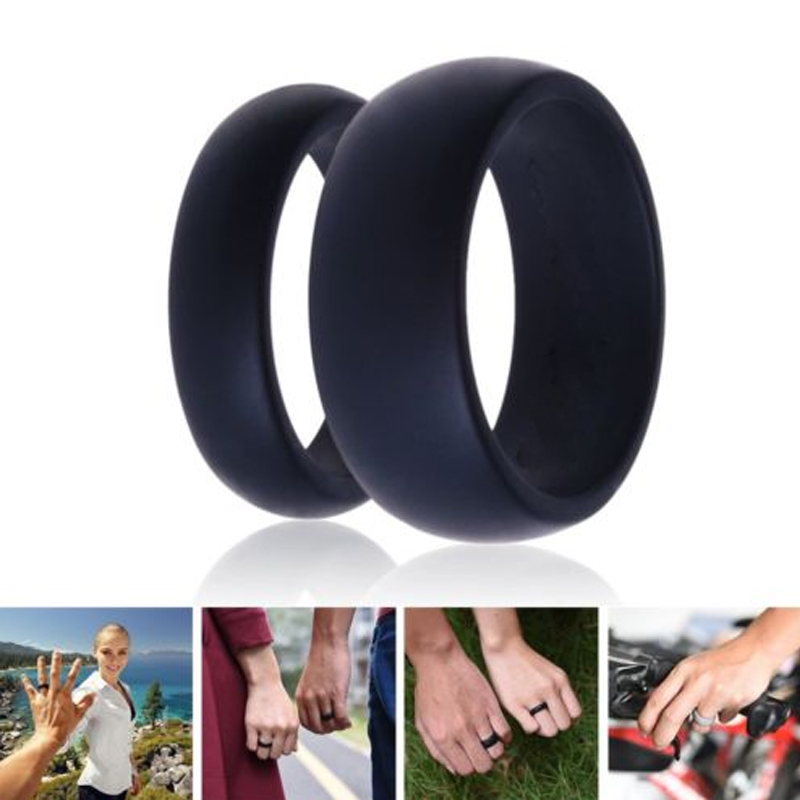 3pcs Rubber Silicone Finger Ring Gray/Black/Blue Size 5-13 Flexible Hypoallergenic Crossfit Wedding Engagement 7B0002(China (Mainland))