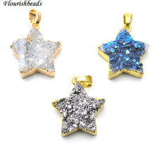 20mm Natural Drusy Agate Star Shape Stone Pendants Fit Fashion Necklace Jewerly making 5pc per lot