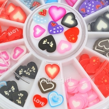 12 colors fimo Nail Art Decoration slice wheel beauty nails accessoires jewelry Manicure DIY Tools heart shape nail decals
