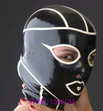 Buy Fashion Fancy Spider Man Sexy Latex Hoods Black Fetish Rubber Ninja Mask White Trim Plus Size Hot Sale
