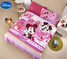 Mickey Minnie Mouse Comforters Set Cotton Bedclothes Cartoon Disney Bedding Textile Girls Baby Home Decor Twin Queen Size Pink(China)