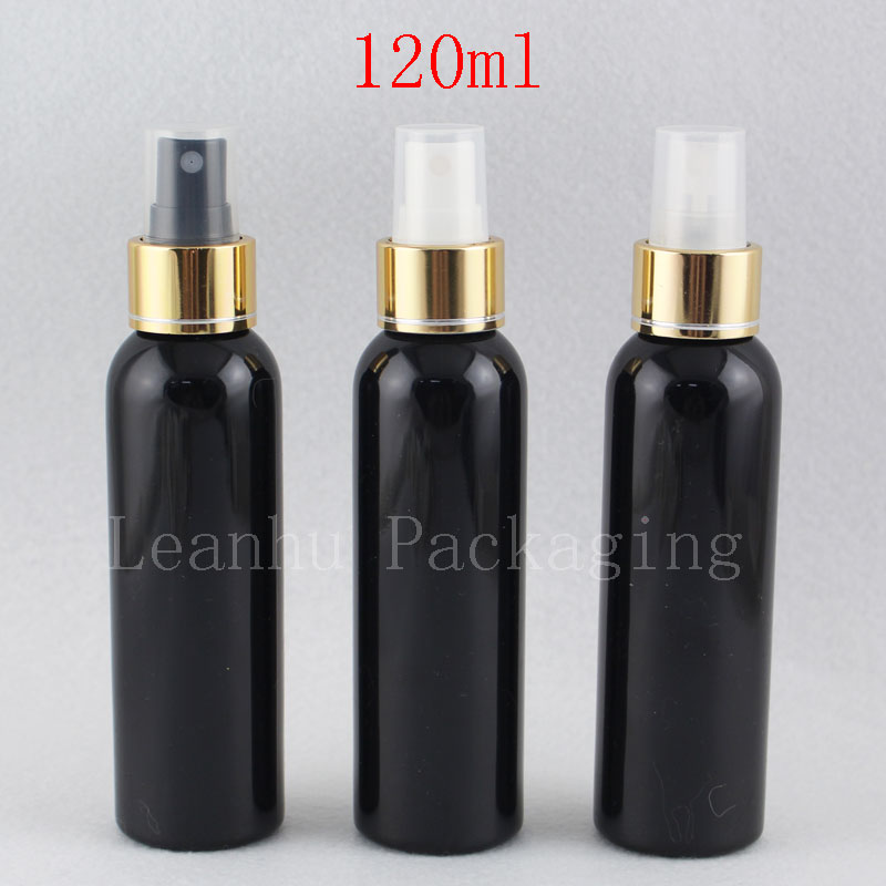 120ml black bottle with gold spray pump