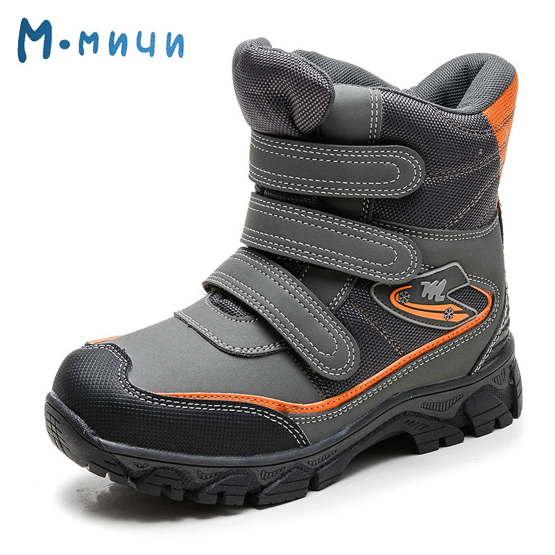 MMNUN 2017 Warm Ankle Winter Boots for Children Anti-slip Kids Boys Winter Shoes High Quality boys winter shoes brand Size 32-37<br>