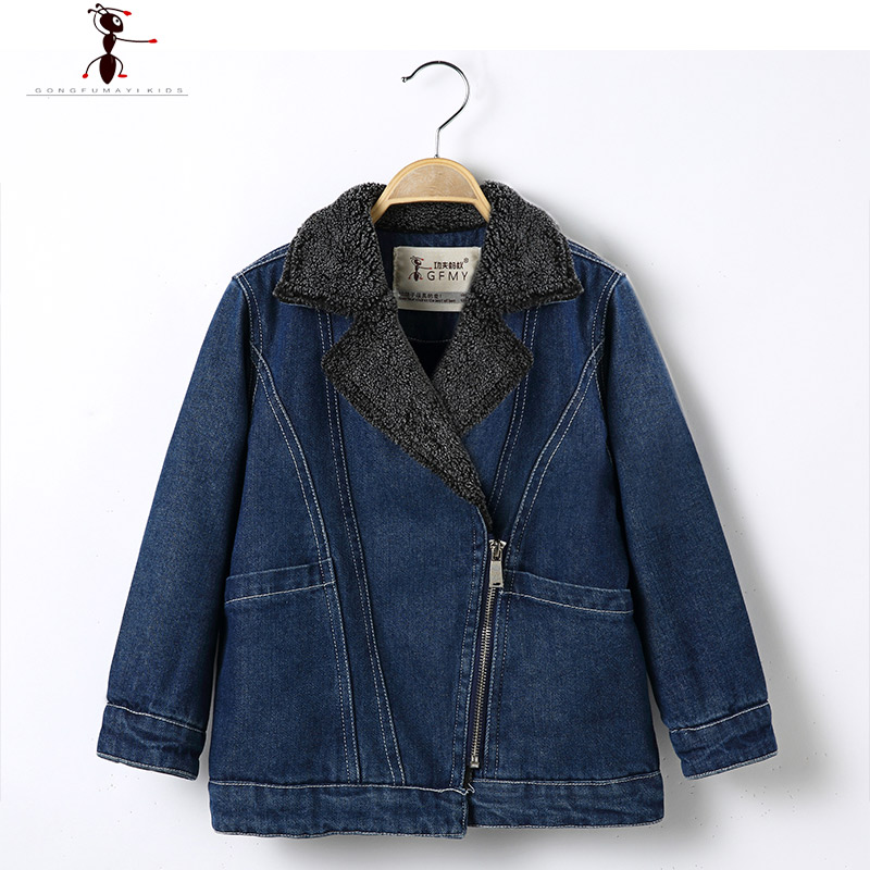 2017 Boys Fashion Jeans Fur Inside Warm Denim Outside Black Blue Fur Turn-down  Collar Coat 2560<br><br>Aliexpress