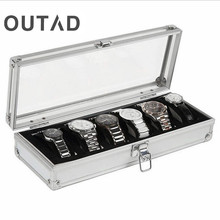 Caja Para Reloj 6 Grid Insert Slots Jewelry Watch Case Display Storage Box Aluminium Watch Box Saat Kutusu