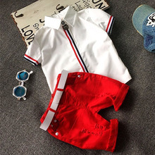 High quality 2017 Summer Children clothing sets Baby boys clothing t shirts+shorts pants sports suit kids clothes(China)