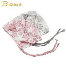 New Cute Cotton & Linen Baby Bonnet Enfant with Ears Lace-up Newborn Hat Pink/Gray for 0-12 Months 1 PC(China)