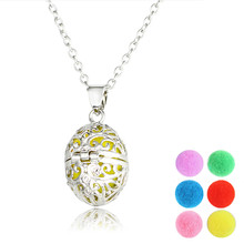 LUOTY New Silver Plated Hollow Egg Shape Oval Openable Long Perfume Diffuser Necklace For Women