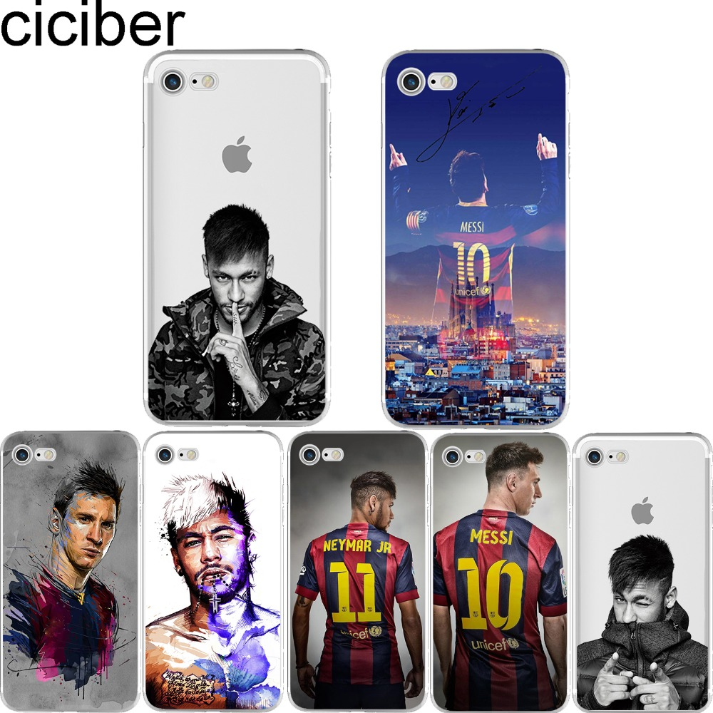 Neymar Messi Football Soccer Soft Silicon Phone cases cover For iPhone 6 6S 7 plus 5S SE Barcelona fc Capinha Coque Fundas capa(China (Mainland))