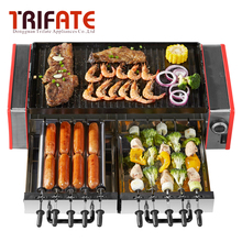 1600W Double Layers Smokeless Electric Pan Grill Auto Rotate Barbecue Fork BBQ Grill Raclette Grill Electric Griddle