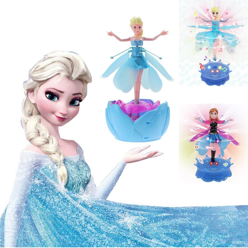 New Fashion Girl Toy With LED Music Electronic Toys Hot Plastic Princesa Flying Fairy Elsa Anna Dolls Infrared Induction Control<br><br>Aliexpress