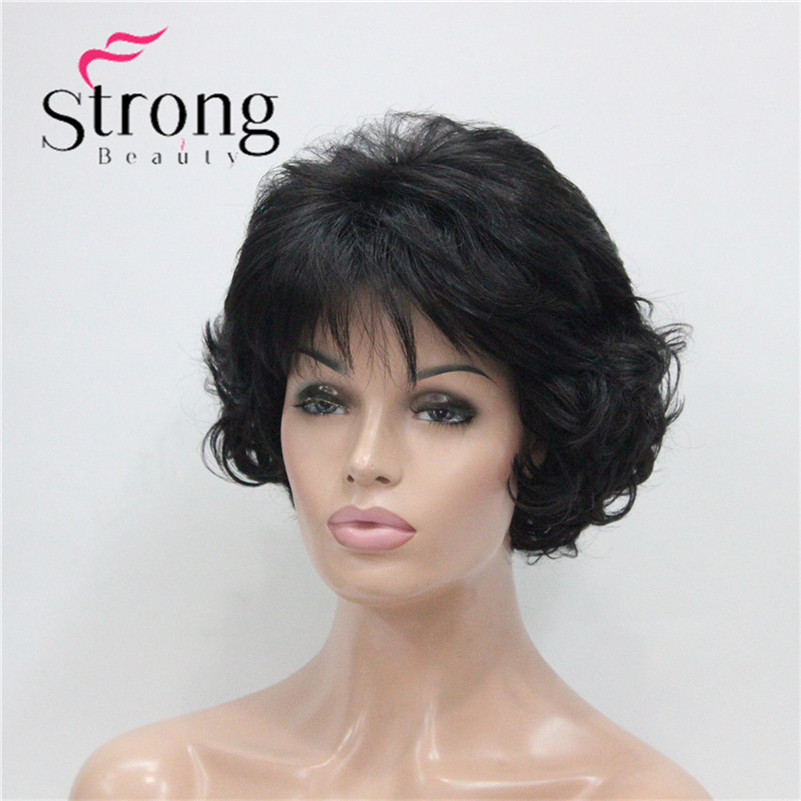 E-7125 #2New Wavy Curly Off Black Wig Short Synthetic Hair Full Women's Wigs For Everyday (3)