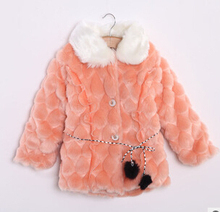 2017 new Baby kids Girls Soft Faux Fur Jacket Coat children's Xmas Winter Warm Slim Outwear Lined Coats(China)