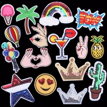 New Pineapple Patch Sewing Clothes Patches Iron On Sequins Crown Motifs Garment Sticker Hot Fix Star Hand Heart Cactus Appliques