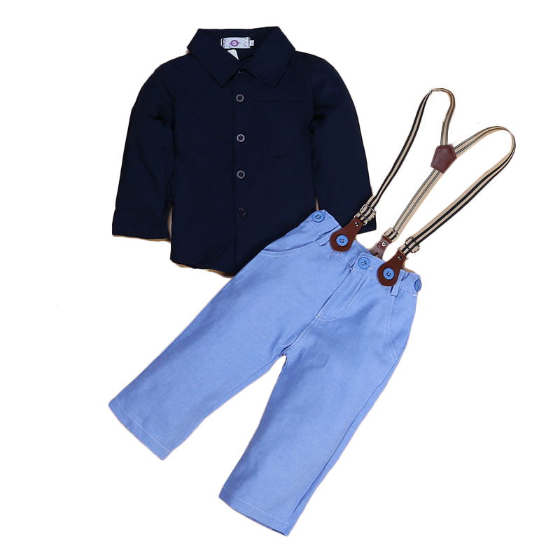 2017 New Arrival Boys Autumn Fashion Shirt  Suspender Pants Clothing Set Children Boy Tops Overall Trousers Suit  2pcs/set 186<br><br>Aliexpress