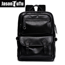 JASON TUTU 2017 Brand Original Laptop backpack men Rucksack Good quality PU leather leather backpack 15-25 days to Moscow B547(China)