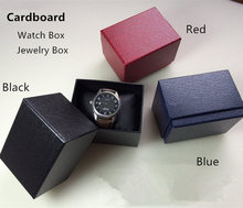 Free Shipping Top Watch Box Fashion Black/Blue/Red Cardboard Material Watch Gift Case Brand Rectangle Watch Storage Boxes