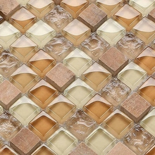 warm color square brown mixed color glass mixed stone for kitchen backsplash tile bathroom shower mosaic tiles hallway border(China)