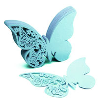 50pcs/Lot Butterfly Place Escort Wine Glass Cup Paper Card for Wedding Party Home Decorations White Blue Pink Purple Name Cards