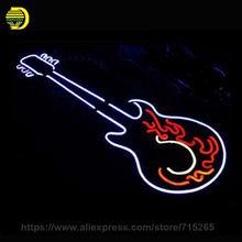 Gitar Rock Roll Neon Sign Glass Tube Car LOGO Neon Recreation Room Handcrafted Frame Sign Store Display Iconic Light Tube 19x15(China)