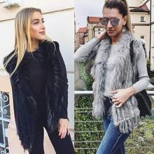 2017 Designer Real Fur Vest Raccoon Fur Collar Waistcoat Natural knitted Rabbit Fur Vest Gilets For Women Retail/wholesale Gilet