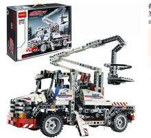 free shipping Jack aerial ladder Science and Technology Series assembled building blocks of the construction site crane boy toys