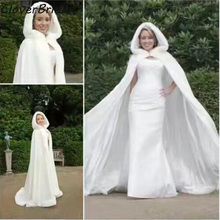 Floor length Bridal Cape Ivory Wedding Cloaks 2017 Long Cape with hood Faux Fur Winter Wedding Accressories Bridal Wraps(China)