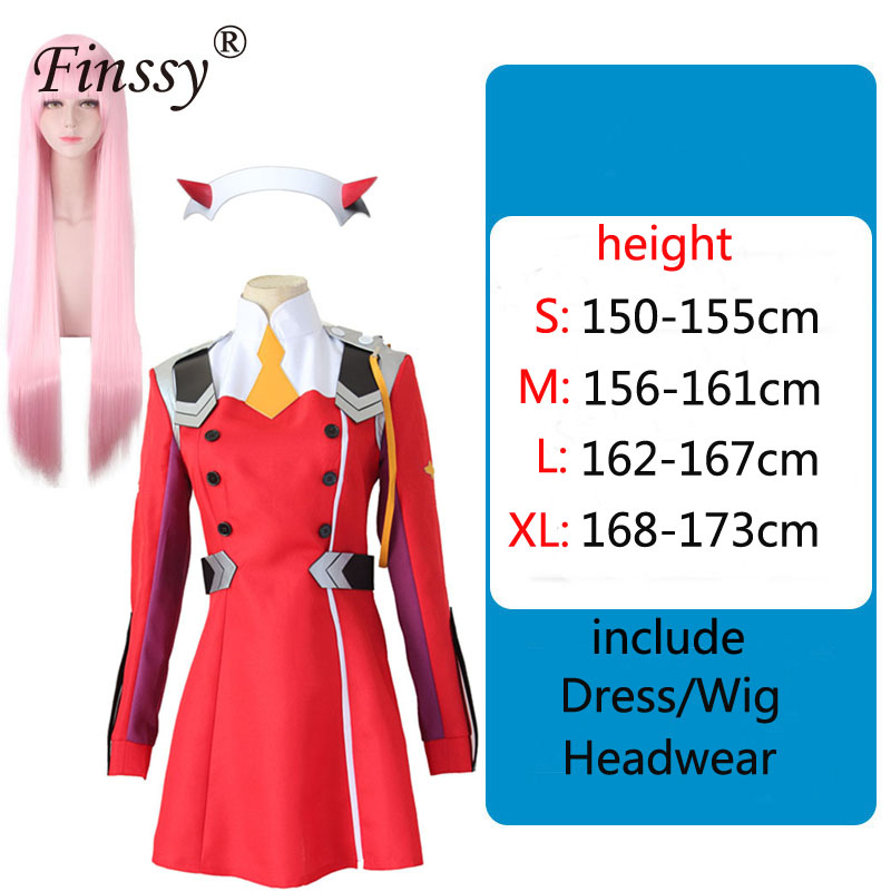 Anime DARLING in the FRANXX Code002 Cosplay Red Gray Dress Cute Work Uniform Party Sexy Costume