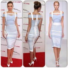 Free Shipping Vestidos De 2016 Fashion Elegant Aqua and White Jacquard Two Piece Bandage Dress Celebrity Red Carpet Dresses(China)