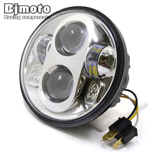 "BJMOTO 5.75"" Round Headlight Motorcycle Projector H4 Hi-Lo HID LED Front Driving Headlamp Head Light For Harley"