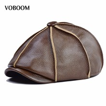 Buy VOBOOM Winter Warm Genuine Leather Beret Men Ear Protect Driving 8 Panel Gatsby Flat Cap Classic Newsboy Style Boina Hat 322 for $39.99 in AliExpress store