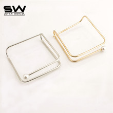 STARWORLD gold/silver color Dimensional squares Imitation pearls bangle for women creative metal bracelet fashion jewelry