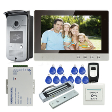 "Free Shipping New 10"" LCD Color Screen Video Door Phone Intercom System + 700TVL HD RFID Reader Door bell Camera + 180kg EM Lock"