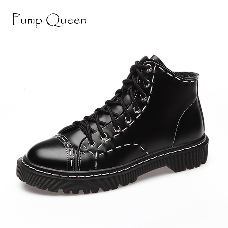 Size 35-44 Women Boots Genuine Leather Flat Martin Ankle Boots Vintage Womens Motorcycle Boots Female Autumn Shoes<br>