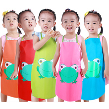 Child Children Custom Apron Kids Waterproof Cartoon Frog Printed Painting Cooking Clothing Aprons Sleeves PVC LOGO