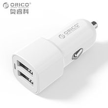 Dual Port USB Car Charger Adapter, ORICO 2 Ports 5V2.4A17W Mini Charger Cigar Socket For iPhone 7 Samsung Galaxy S6 Edge Xiaomi