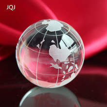 JQJ Clear Crystal Glass Sphere Globe World Map Ball Feng shui neo spheres world globe Balls Crafts For nautical decor ornaments(China)
