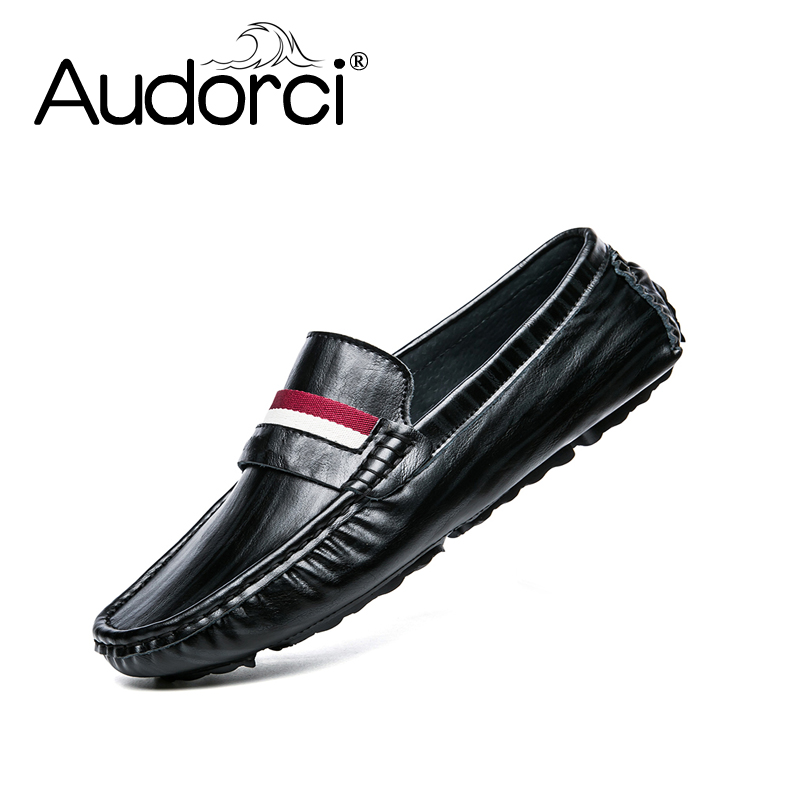 Audorci 2018 Spring Mens Light Flats Shoes Man Casual Boat Peas shoe Driving Loafers Handmade Comfortable Men Shoe Size 38-44<br>