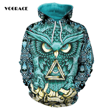 VOGRACE Christmas Style Men / Women 3d Sportswear Sweatshirt Print Owl Eagle Triangle Feather Hoodie Hooded Dress Top Hoody(China)