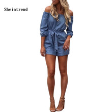 Sheintrend Fashion Women Sexy Off Shoulder Short Sleeve Bandage Denim Rompers Jeans Playsuit Loose Casual Party Jumpsuit Outfit(China)