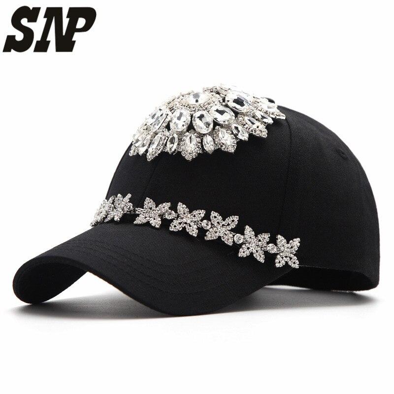 2017 New High quality handmade female diamond women baseball cap Fashion snapback caps casquette <br>