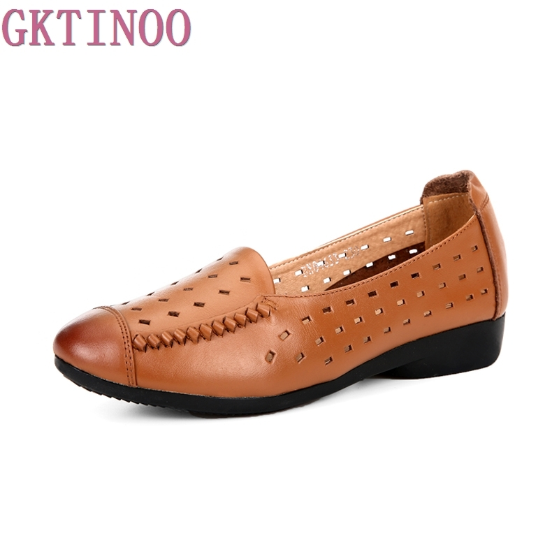 Summer breathable Genuine Leather soft outsole Round Toe Women Flat Shoes handmade vintage Casual Shoes Hollow Women's Loafers