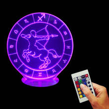 Free Shipping 1Piece Sagittarius Zodiac 3D Bulbing Lights Laser Engraved 16 Colors Changing Decor LED Night Light For Present