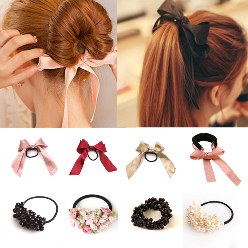 1pcs Women Tiara Satin Ribbon Bow Hair Band Rope Scrunchie Ponytail Holder Gum Hair Accessories Pearl Elastic Rubber Bands