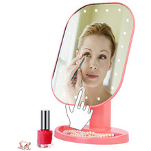 360 Degree Rotation Touch Screen Make Up LED Mirror Cosmetic Portable Compact Pocket With 20 LED Lights Makeup Mirror